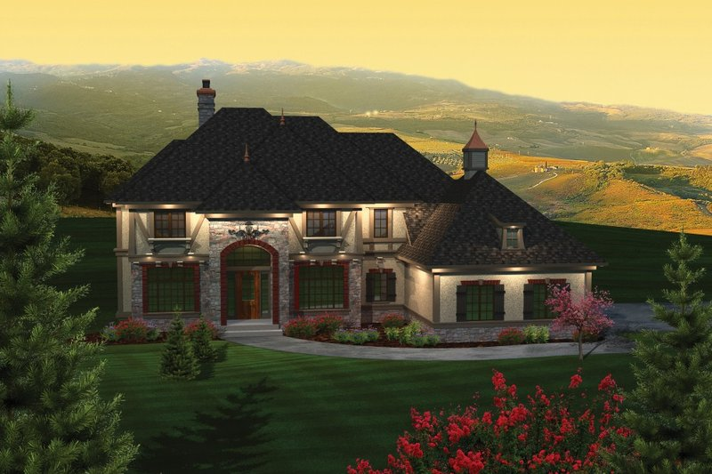 European Style House Plan - 5 Beds 3.5 Baths 3843 Sq/Ft Plan #70-1090 Exterior - Front Elevation