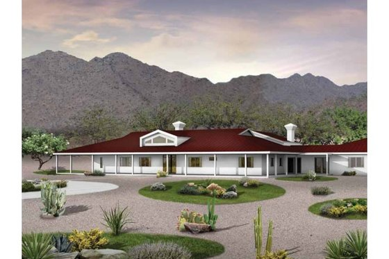 Ranch Exterior - Front Elevation Plan #72-390