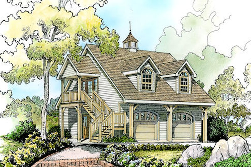 Cottage Style House Plan - 1 Beds 1 Baths 646 Sq/Ft Plan #140-132 Exterior - Front Elevation