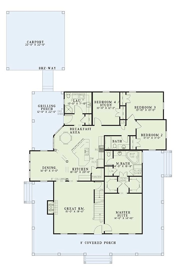 House Plan Design - Farmhouse Floor Plan - Main Floor Plan #17-3420