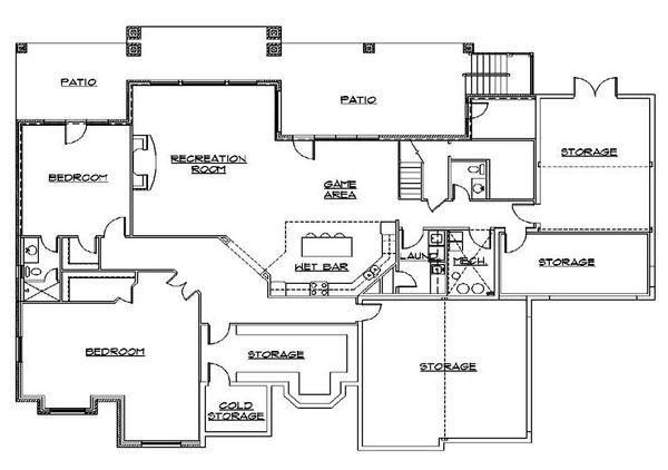 House Plan Design - European Floor Plan - Lower Floor Plan #5-445