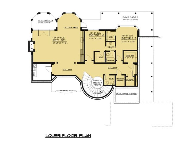 Victorian Floor Plan - Lower Floor Plan Plan #1066-55