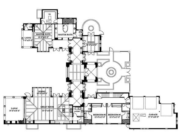 Mediterranean Floor Plan - Main Floor Plan Plan #426-19