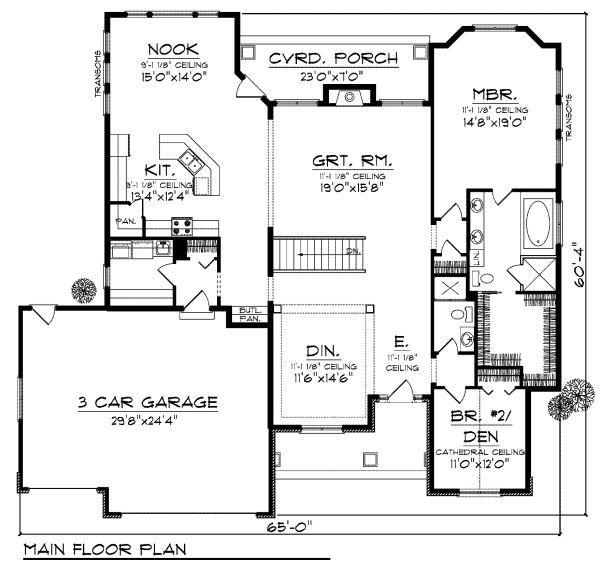 Traditional Floor Plan - Main Floor Plan Plan #70-870