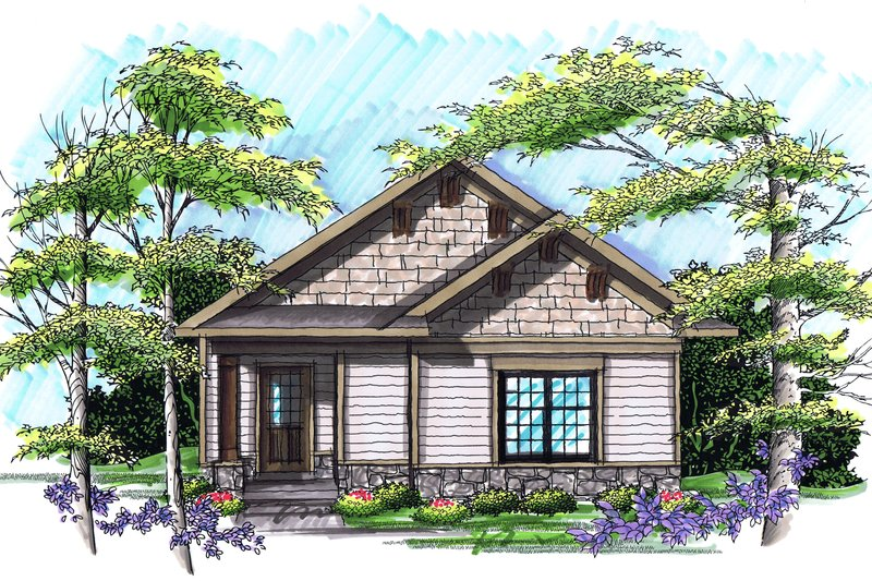 Ranch Exterior - Front Elevation Plan #70-1022