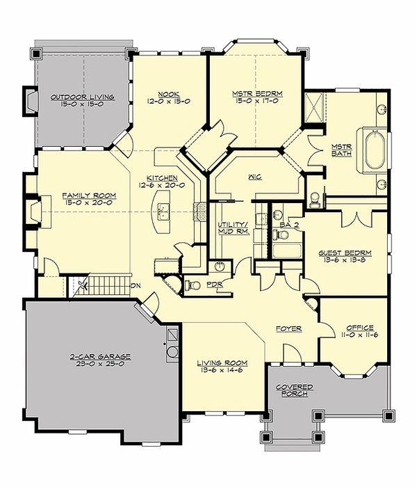 Craftsman Style House Plan - 2 Beds 2.5 Baths 2545 Sq/Ft Plan #132-230 Floor Plan - Main Floor Plan