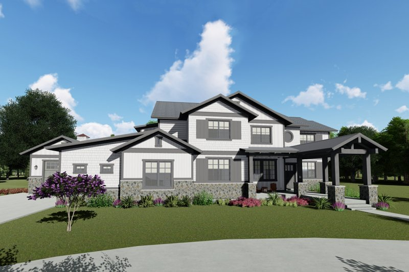 Craftsman Style House Plan - 5 Beds 4.5 Baths 5172 Sq/Ft Plan #1069-13 Exterior - Front Elevation