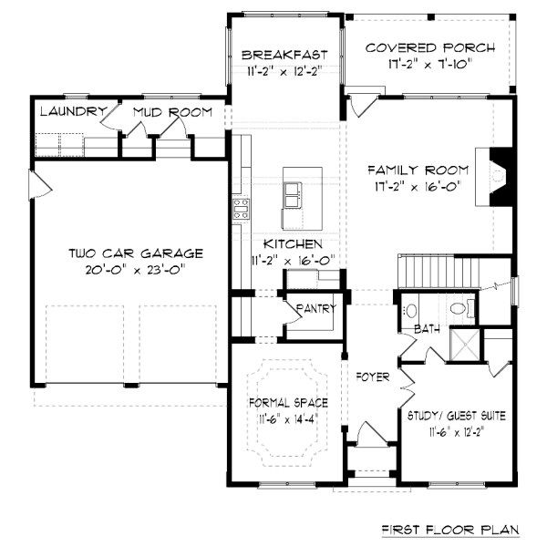 Tudor Floor Plan - Main Floor Plan Plan #413-877