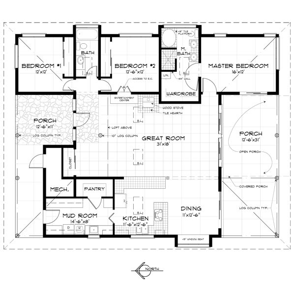 Country Style House Plan - 3 Beds 2 Baths 1920 Sq/Ft Plan #452-1 Floor Plan - Main Floor Plan