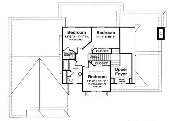 European Floor Plan - Upper Floor Plan Plan #46-477
