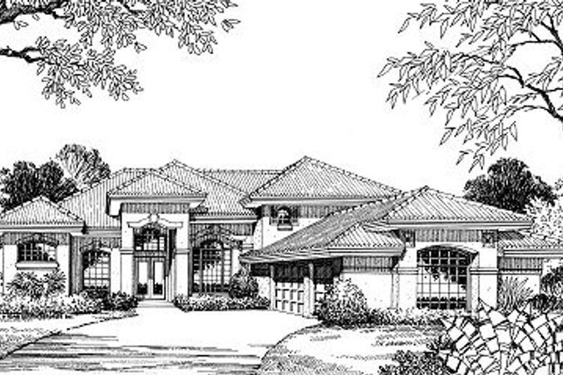 European Style House Plan - 4 Beds 4 Baths 3164 Sq/Ft Plan #417-364 Exterior - Front Elevation