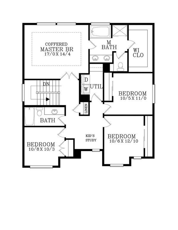 Craftsman Floor Plan - Upper Floor Plan #53-505