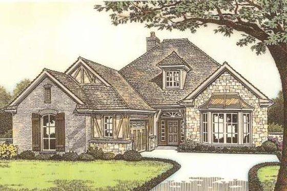 Tudor Exterior - Front Elevation Plan #310-533