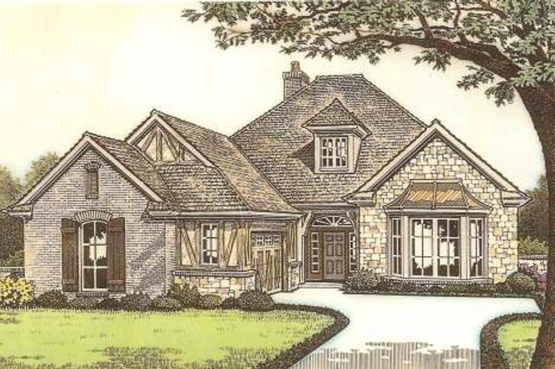 Tudor Exterior - Front Elevation Plan #310-533 - Houseplans.com