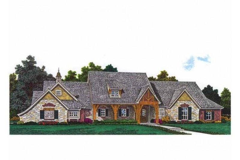 Traditional Style House Plan - 3 Beds 2.5 Baths 2542 Sq/Ft Plan #310-990 Exterior - Front Elevation