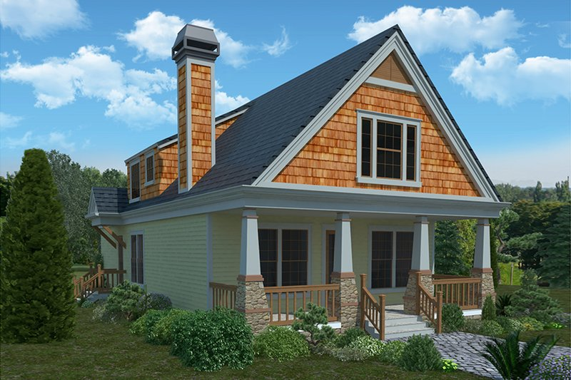 Bungalow Exterior - Front Elevation Plan #30-338
