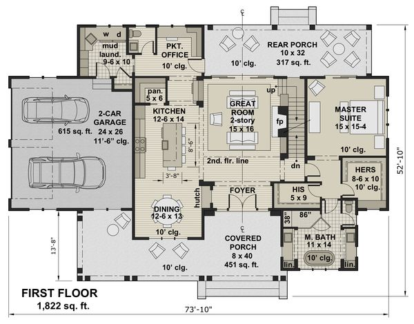 Farmhouse Floor Plan - Main Floor Plan Plan #51-1155