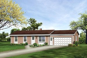 Ranch Exterior - Front Elevation Plan #57-555