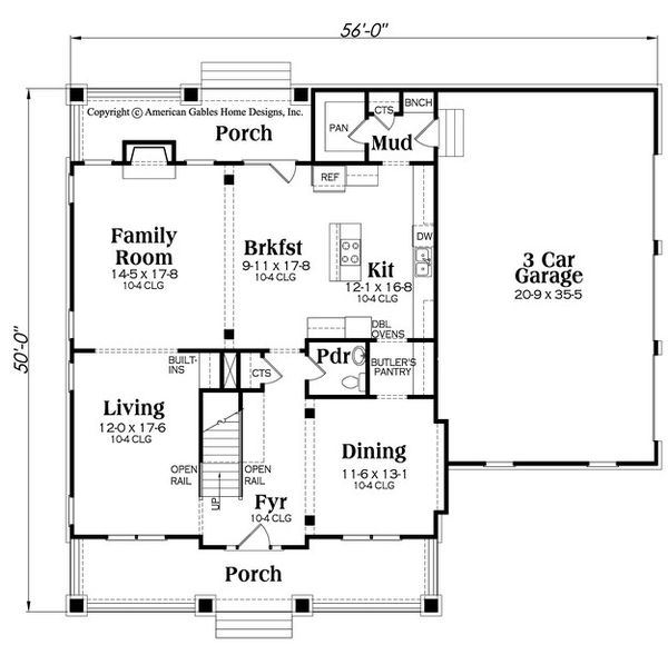 Bungalow Floor Plan - Main Floor Plan Plan #419-294