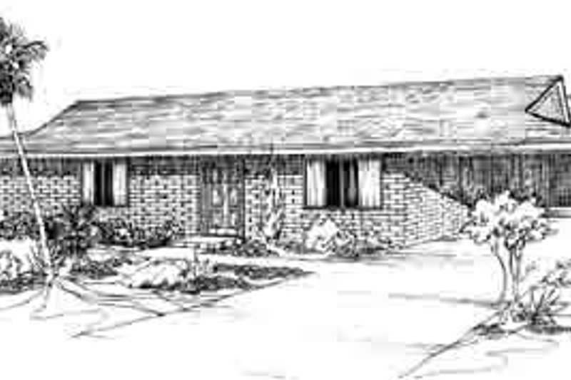 Ranch Style House Plan - 2 Beds 1 Baths 792 Sq/Ft Plan #1-116 Exterior - Front Elevation