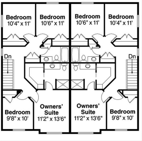 Traditional Floor Plan - Upper Floor Plan Plan #124-816