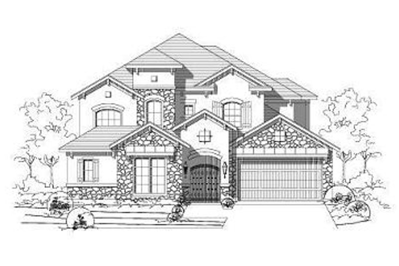 European Style House Plan - 5 Beds 4.5 Baths 4594 Sq/Ft Plan #411-708 Exterior - Front Elevation