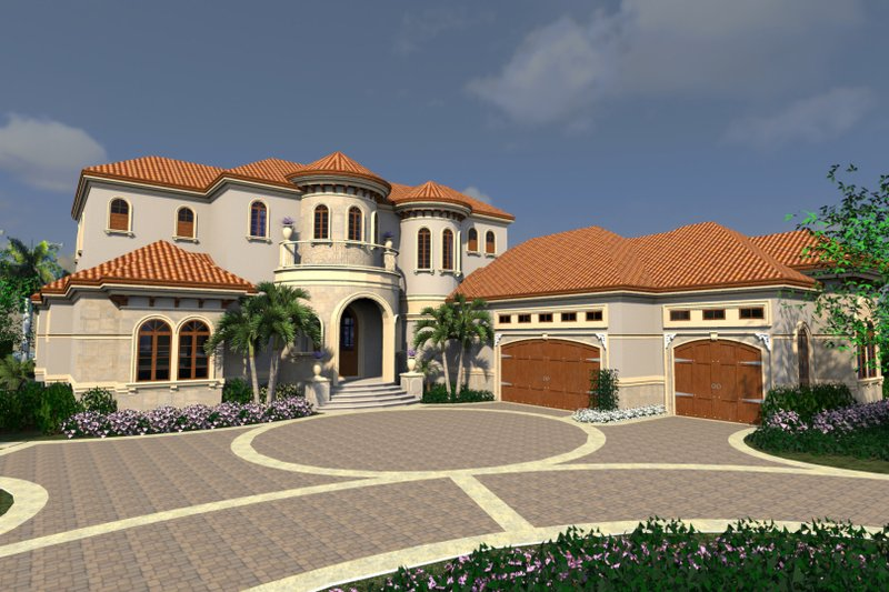 Mediterranean Style House Plan - 4 Beds 6.5 Baths 5126 Sq/Ft Plan #548-18 Exterior - Front Elevation