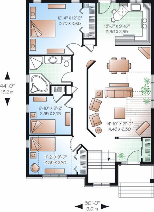 Traditional Floor Plan - Main Floor Plan Plan #23-796