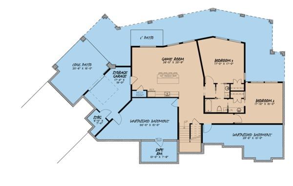 Contemporary Floor Plan - Lower Floor Plan Plan #923-86