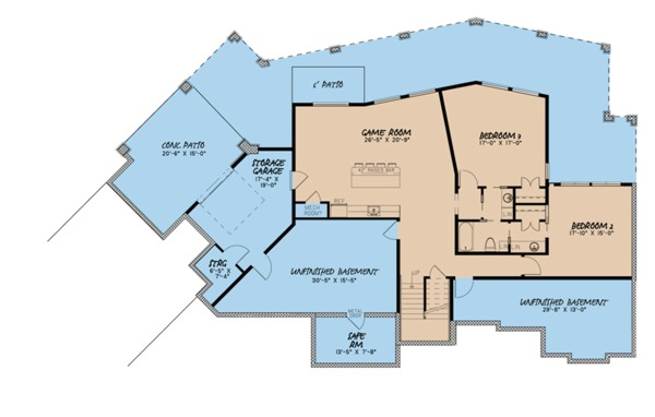 Contemporary Floor Plan - Lower Floor Plan Plan #923-86
