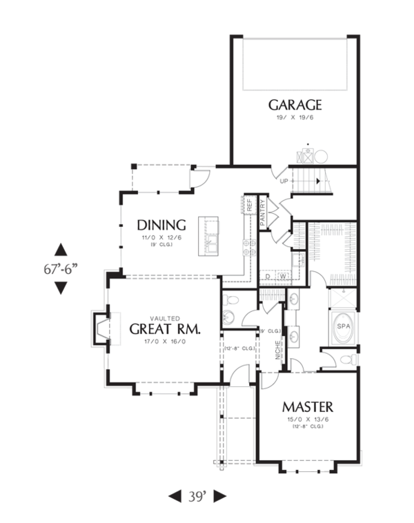 Craftsman Floor Plan - Main Floor Plan Plan #48-529