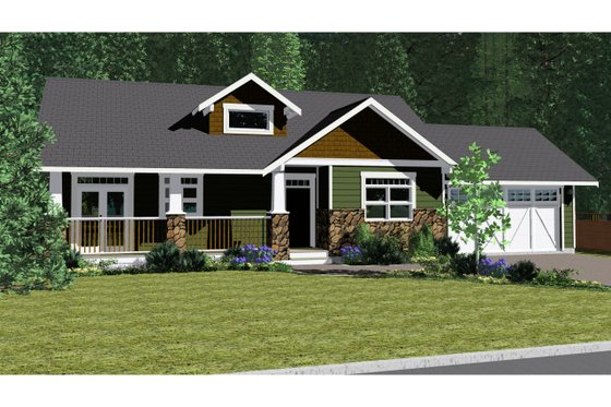 Ranch Exterior - Front Elevation Plan #126-192