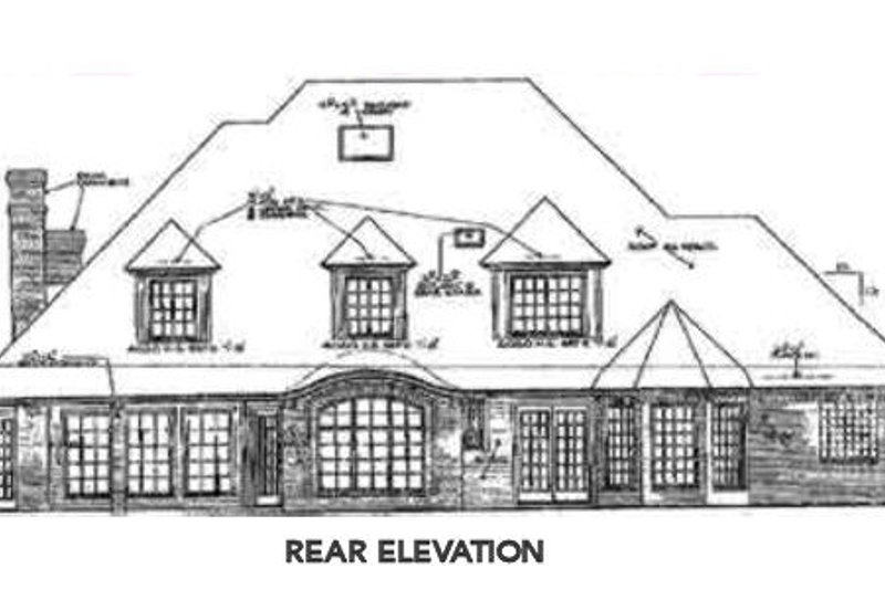 European Exterior - Rear Elevation Plan #310-601 - Houseplans.com