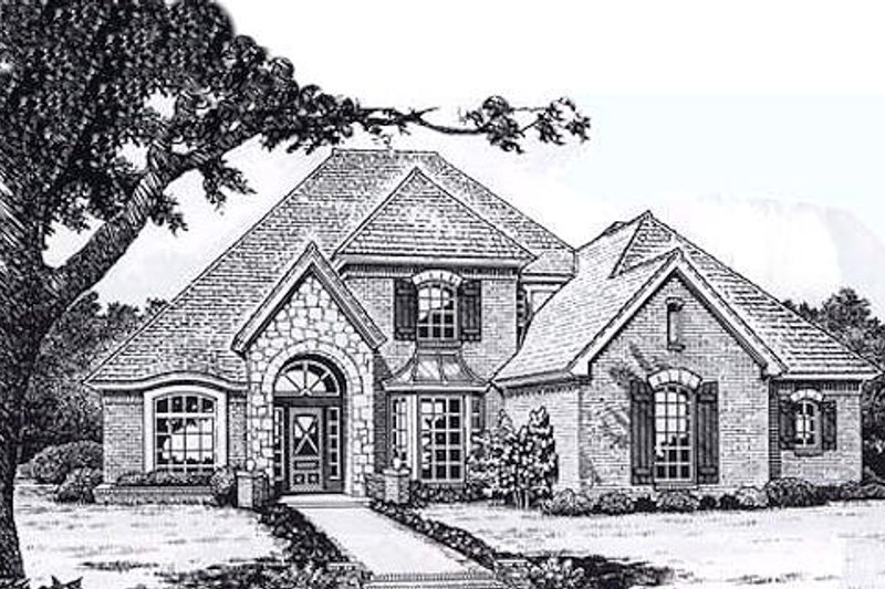 European Style House Plan - 3 Beds 2.5 Baths 3166 Sq/Ft Plan #310-921 Exterior - Front Elevation