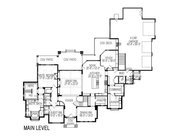 European Floor Plan - Main Floor Plan Plan #920-77