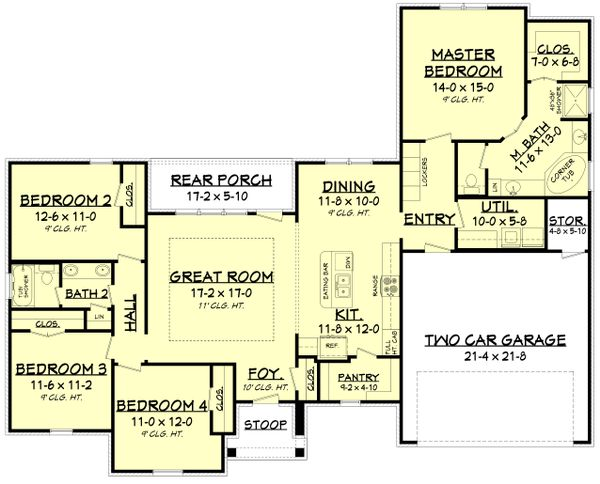 Ranch Floor Plan - Main Floor Plan Plan #430-182