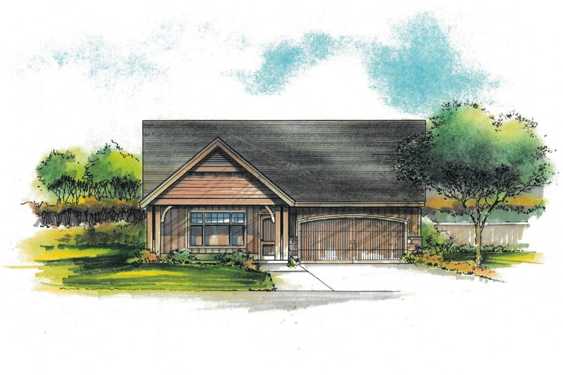 Craftsman Style House Plan - 3 Beds 2 Baths 1252 Sq/Ft Plan #53-601 Exterior - Front Elevation