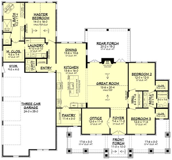 Farmhouse Floor Plan - Main Floor Plan Plan #430-229