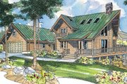 Log Style House Plan - 3 Beds 2 Baths 1744 Sq/Ft Plan #124-503 Exterior - Front Elevation