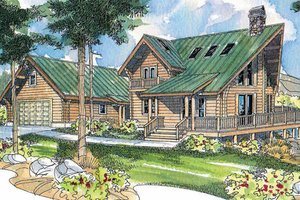 Dream House Plan - Log Exterior - Front Elevation Plan #124-503