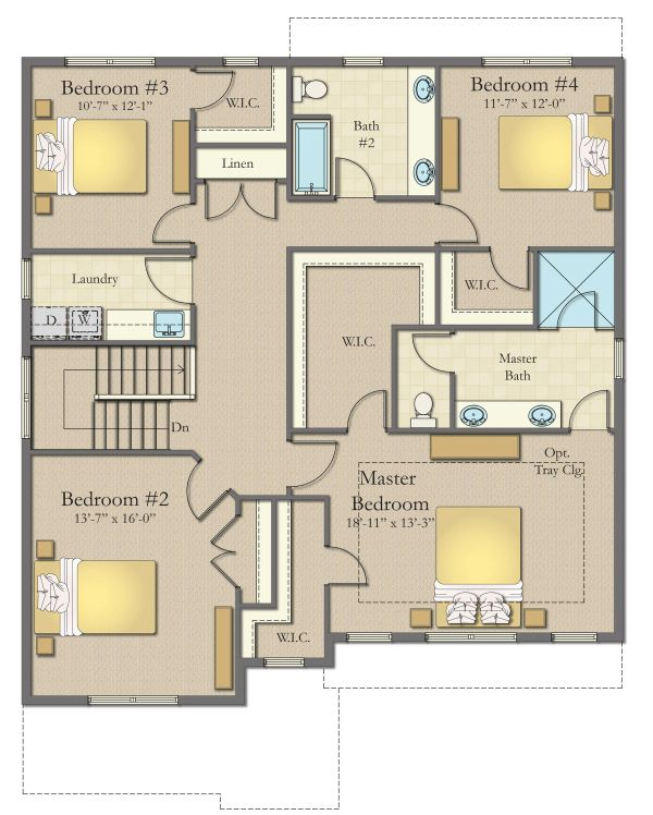 Craftsman Floor Plan - Upper Floor Plan #1057-14
