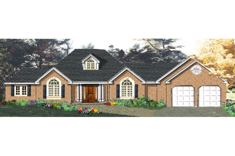 Ranch Style House Plan - 4 Beds 2.5 Baths 1850 Sq/Ft Plan #3-153 Exterior - Front Elevation
