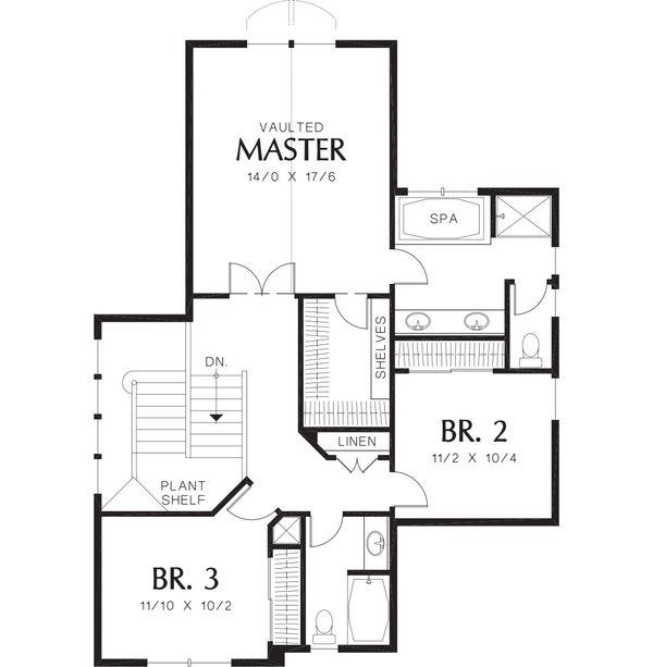 Craftsman Floor Plan - Upper Floor Plan Plan #48-118