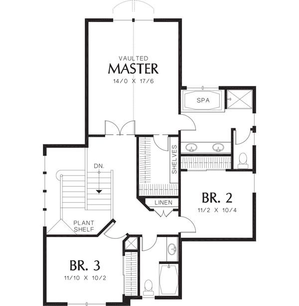 Craftsman Floor Plan - Upper Floor Plan Plan #48-118
