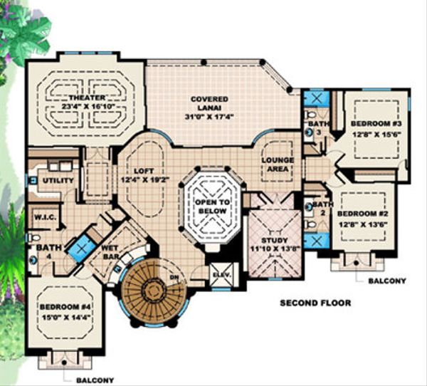 Mediterranean Floor Plan - Upper Floor Plan Plan #27-397