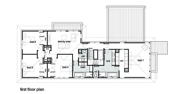 Modern Floor Plan - Upper Floor Plan Plan #496-18