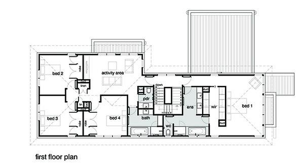 Modern Floor Plan - Upper Floor Plan Plan #496-18