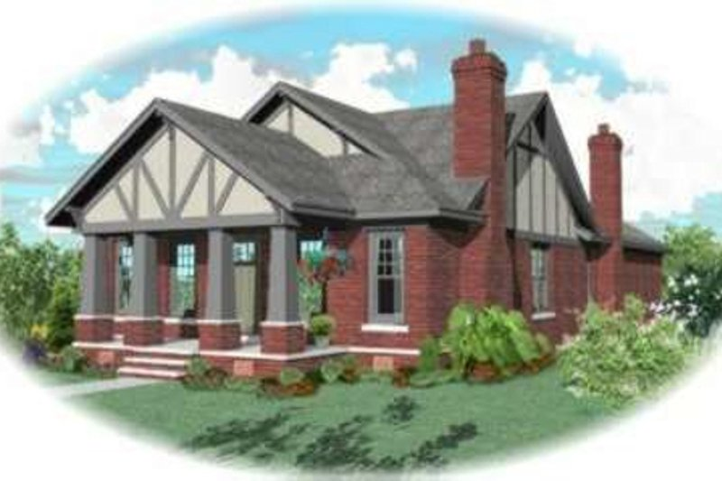 Tudor Style House Plan - 3 Beds 2 Baths 2169 Sq/Ft Plan #81-432 Exterior - Front Elevation