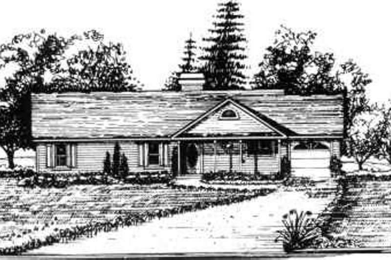 Ranch Style House Plan - 3 Beds 2 Baths 1284 Sq/Ft Plan #30-123 Exterior - Front Elevation