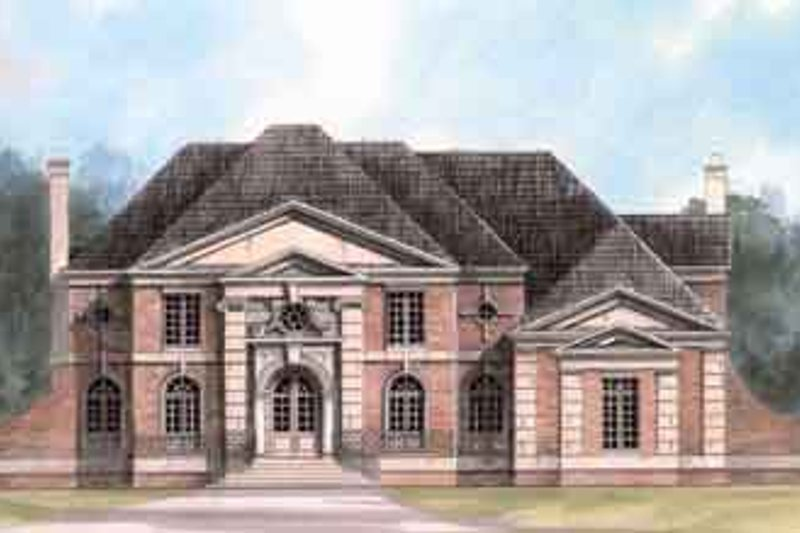 European Style House Plan - 4 Beds 3.5 Baths 4390 Sq/Ft Plan #119-104 Exterior - Front Elevation